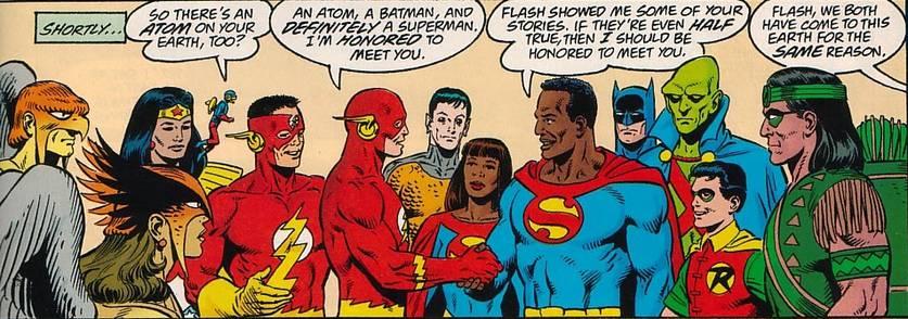Cena com Superman e os heróis da Terra D