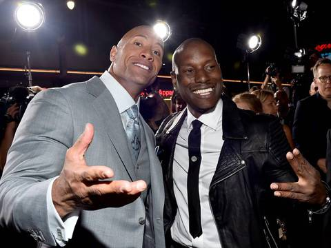 Foto de Dwayne Johnson e Tyrese Gibson/Alberto E. Rodriguez/Getty Images North America/AFP