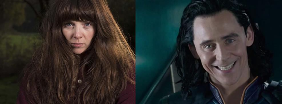 Sophia Di Martino em Flowers e Tom Hiddleston em Thor /Channel 4/Marvel Studios