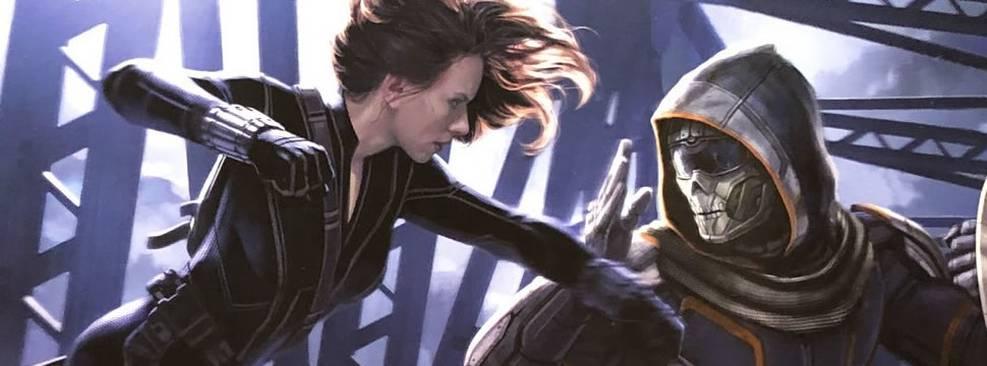 Viúva Negra combate o Treinador em arte conceitual do filme da Marvel