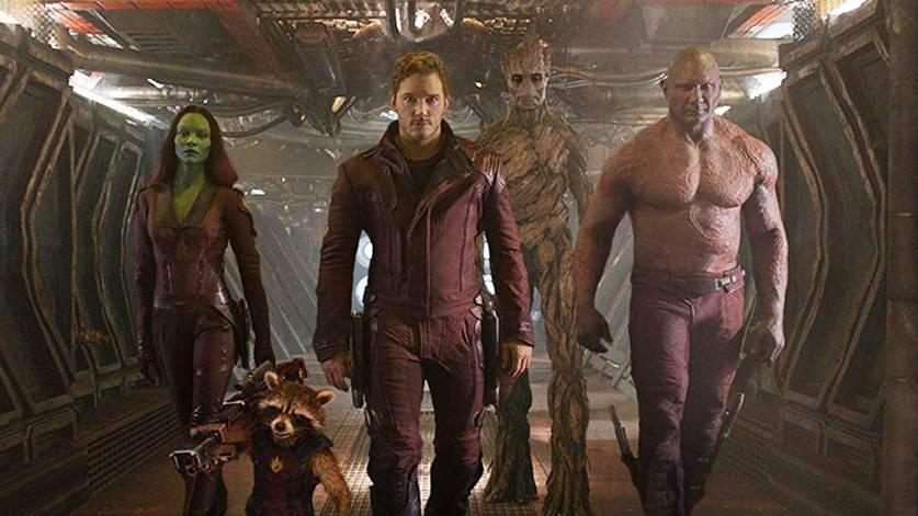 Zoe Saldana, Chris Pratt e Dave Bautista em Guardiões da Galáxia