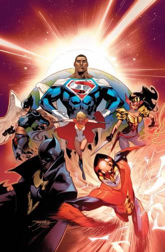 Capa de uma HQ da Terra 2 com o Superman Val-Zod ao centro