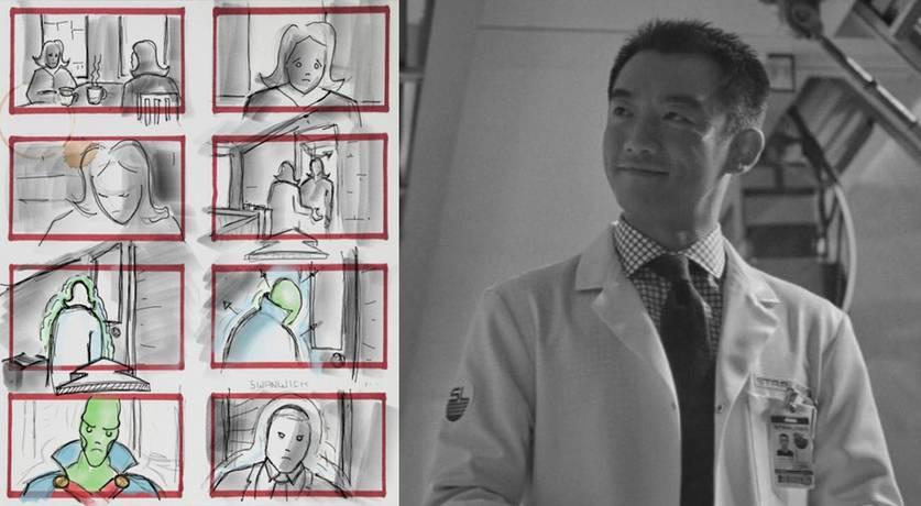 Montagem reunindo um storyboard com o Caçador de Marte e uma foto de Ryan Zheng como Ryan Choi