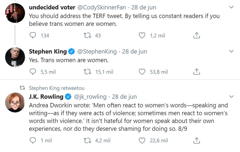 Tweets de Stephen King e J.K. Rowling
