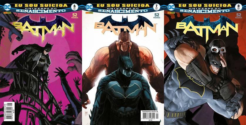 Capas das revistas 6 a 8 do Batman