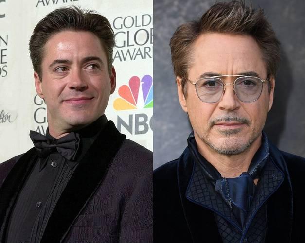 Robert Downey Jr. em 2000 e 2020