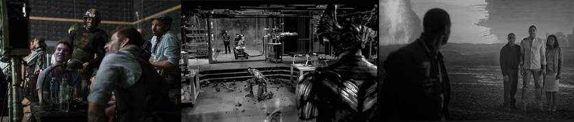 Montagem contendo imagens de Ciborgue divulgadas por Zack Snyder