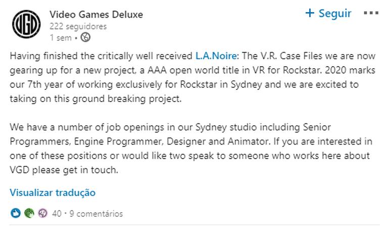 Rockstar está trabalhando em novo jogo AAA 4