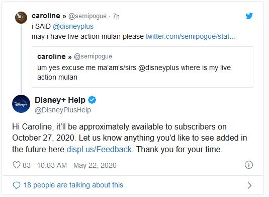 Data de Mulan no Disney+