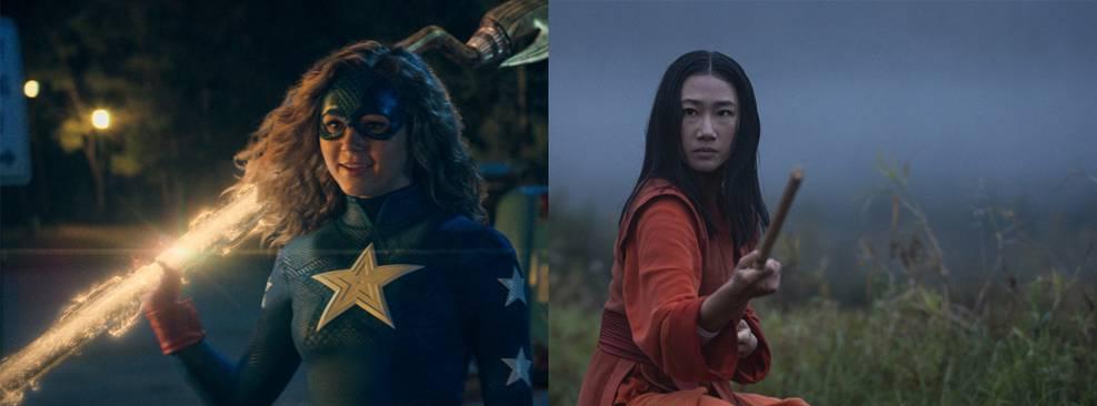 Montagem com fotos das séries Stargirl e Kung Fu