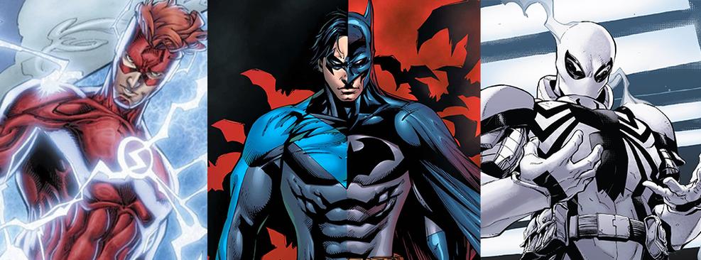 Montagem com Flash, Asa Noturna e Anti-Venom/DC Comics/Marvel Comics/Divulgação